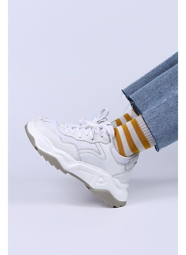 Female Project Beyaz Gri Hakiki Deri Sneaker Beyaz